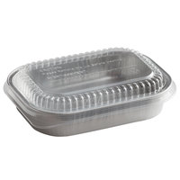 Choice 16 oz. Smoothwall Silver Mini Foil Entree / Take-Out Pan with Dome Lid - 100/Case