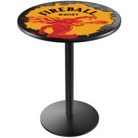 Holland Bar Stool L214B3628FIREBALL-Y 28 inch Round Fireball Whiskey Yellow Design Counter Height Pub Table with Round Black Base
