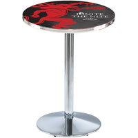 Holland Bar Stool L214C3628FIREBALL-B 28 inch Round Fireball Whiskey Black Design Counter Height Pub Table with Round Chrome Base