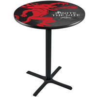 Holland Bar Stool L211B4228FIREBALL-B 28 inch Round Fireball Whiskey Black Design Bar Height Pub Table