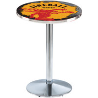 Holland Bar Stool L214C3628FIREBALL-Y 28 inch Round Fireball Whiskey Yellow Design Counter Height Pub Table with Round Chrome Base