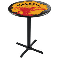 Holland Bar Stool L211B3628FIREBALL-Y 28 inch Round Fireball Whiskey Yellow Design Counter Height Pub Table