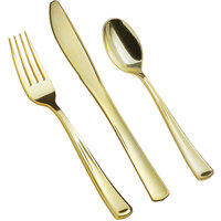 Gold Visions Classic 3-Piece Heavy Weight Gold Plastic Cutlery Set - 25/Pack