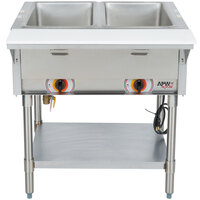 APW Wyott ST-2 Two Pan Exposed Stationary Steam Table with Coated Legs and Undershelf - 1000W - Open Well, 208V