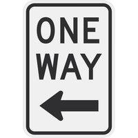 Left Arrow One Way Engineer Grade Reflective Black Aluminum Sign - 12 inch x 18 inch