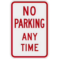 Lavex Industrial No Parking Any Time Engineer Grade Reflective Red Aluminum Sign - 12 inch x 18 inch