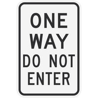 One Way / Do Not Enter Diamond Grade Reflective Black Aluminum Sign - 12 inch x 18 inch