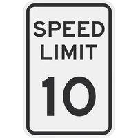 Speed Limit 10 inch MPH Diamond Grade Reflective Black Aluminum Sign - 12 inch x 18 inch
