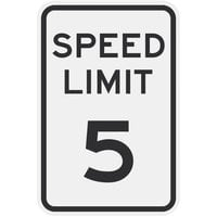 Speed Limit 5 inch MPH Engineer Grade Reflective Black Aluminum Sign - 12 inch x 18 inch