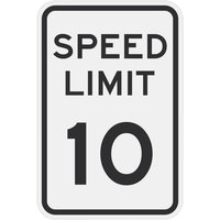 Speed Limit 10 inch MPH Engineer Grade Reflective Black Aluminum Sign - 12 inch x 18 inch