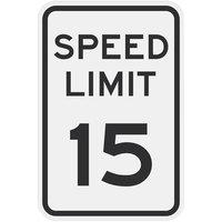 Speed Limit 15 inch MPH Diamond Grade Reflective Black Aluminum Sign - 12 inch x 18 inch