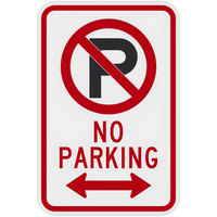 Lavex Industrial No Parking Two-Way Arrow High Intensity Prismatic Reflective Black / Red Aluminum Sign - 12 inch x 18 inch
