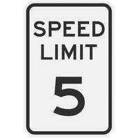 Speed Limit 5 inch MPH Diamond Grade Reflective Black Aluminum Sign - 12 inch x 18 inch