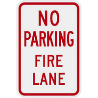Lavex Industrial No Parking / Fire Lane Engineer Grade Reflective Red Aluminum Sign - 12 inch x 18 inch