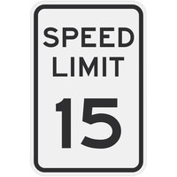 Speed Limit 15 inch MPH Engineer Grade Reflective Black Aluminum Sign - 12 inch x 18 inch