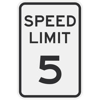Speed Limit 5 inch MPH High Intensity Prismatic Reflective Black Aluminum Sign - 12 inch x 18 inch