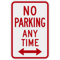Lavex Industrial No Parking Any Time Two-Way Arrow Engineer Grade Reflective Red Aluminum Sign - 12 inch x 18 inch