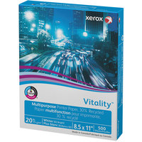Xerox 3R06296 Vitality 8 1/2 inch x 11 inch Bright White Ream of Recycled Multi-Purpose 20# Paper - 500 Sheets