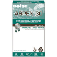Boise 054904 Aspen 30 8 1/2 inch x 14 inch White Case of 20# Multi-Use Recycled Paper - 5000 Sheets - 10/Case