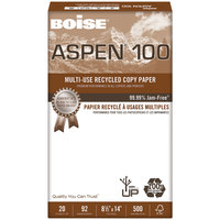 Boise 054924 Aspen 100 8 1/2 inch x 14 inch White Case of 20# Multi-Use Recycled Paper - 5000 Sheets - 10/Case