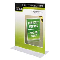 NuDell 38020Z 8 1/2 inch x 11 inch Clear Plastic Double-Sided Stand-Up Sign Holder