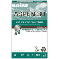 Boise 054907 Aspen 30 11 inch x 17 inch White Case of 20# Multi-Use Recycled Paper - 2500 Sheets - 5/Case