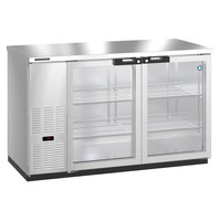 Hoshizaki HBB-2G-LD-59-S 59 1/2 inch Stainless Steel Glass Door Back Bar Refrigerator