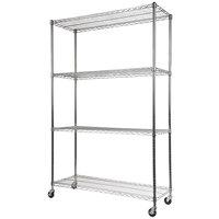 Alera ALESW604818SR 18 inch x 48 inch x 72 inch Silver Steel Wire Shelving 4-Shelf Mobile Starter Kit