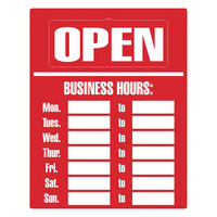 Cosco 098072 15 inch x 19 inch Red Business Hours Sign Kit