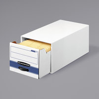Banker's Box 00306 Stor/Drawer Steel Plus 10 1/2 inch x 25 1/4 inch x 6 1/2 inch White / Blue Extra Space Saving Storage Drawer   - 12/Case