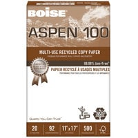Boise 054925 Aspen 100 11 inch x 17 inch White Case of 20# Multi-Use Recycled Paper - 2500 Sheets - 5/Case
