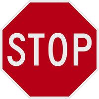 Stop Diamond Grade Reflective Red / White Aluminum Sign - 18 inch x 18 inch