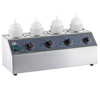 Carnival King Quad 32 oz. Sauce / Topping Bottle Warmer with 4 Squeeze Bottles - 800W, 120V
