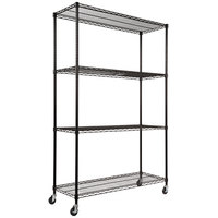 Alera ALESW604818BL 18 inch x 48 inch x 72 inch Black Steel Wire Shelving 4-Shelf Mobile Starter Kit