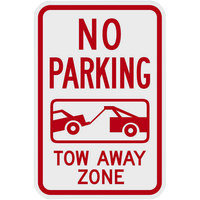 Lavex Industrial No Parking / Tow Away Zone Engineer Grade Reflective Red Aluminum Sign - 12 inch x 18 inch