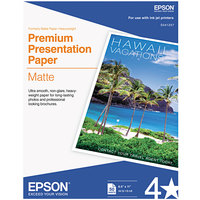 Epson S041257 8 1/2 inch x 11 inch Bright White Pack of 9 Mil Premium Matte Presentation Paper - 50 Sheets