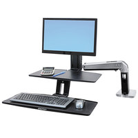 Ergotron 24390026 WorkFit Black 21 1/2 inch x 11 inch Sit / Stand Workstation for Single Monitor