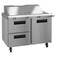 Hoshizaki SR48A-18MD2 48 inch 1 Door, 2 Drawer Mega Top Stainless Steel Refrigerated Sandwich Prep Table