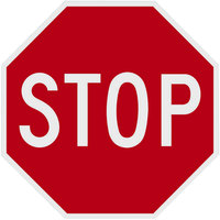 Stop Engineer Grade Reflective Red / White Aluminum Sign - 30 inch x 30 inch