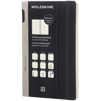 Moleskine PROPFNTB3SBK 8 1/4 inch x 5 inch Black 192 Page Narrow Ruled Professional Notebook