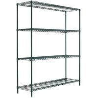 Alera ALESW207224BA 24 inch x 72 inch x 72 inch Black Anthracite Steel Wire Shelving 4-Shelf Starter Kit