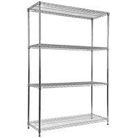 Alera ALESW664818BL 18 inch x 48 inch x 72 inch Black Steel Wire Shelving 6-Shelf Commercial Starter Kit with Shelf Liners