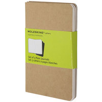 Moleskine QP413 5 1/2 inch x 3 1/2 inch Kraft Brown 64 Sheet Unruled Cahier Journal - 3/Pack