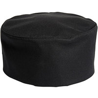 Uncommon Threads 0159 Black Customizable Uncommon Chef Skull Cap / Pill Box Hat with Hook and Loop Closure