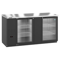 Hoshizaki HBB-3G-LD-69 69 1/2 inch Black Glass Door Back Bar Refrigerator