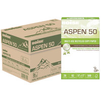 Boise 055017 Aspen 50 11 inch x 17 inch White Case of 20# Multi-Use Recycled Paper - 2500 Sheets - 5/Case