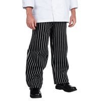 Chef Revival Size 4X Black EZ Fit Chef Pants with White Pinstripes