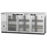Hoshizaki HBB-3G-LD-80-S 80 inch Stainless Steel Glass Door Back Bar Refrigerator