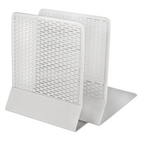 Artistic ART20008WH Urban Collection 6 1/2 inch x 6 1/2 inch x 5 1/2 inch White Punched Metal Bookends - 2/Set
