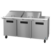 Hoshizaki SR72A-24M 72 inch 3 Door Mega Top Stainless Steel Refrigerated Sandwich Prep Table